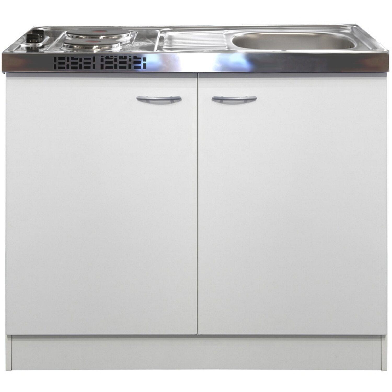 Flex-Well Classic Miniküche Wito 100 cm mit Pantryauflage Weiß | Küche und Esszimmer > Küchen > Miniküchen | Weiß | Flex-Well Classic