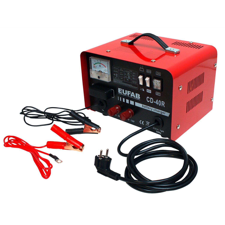 Eufab Werkstattladegerät 12 V/24 V mit Startfunktion