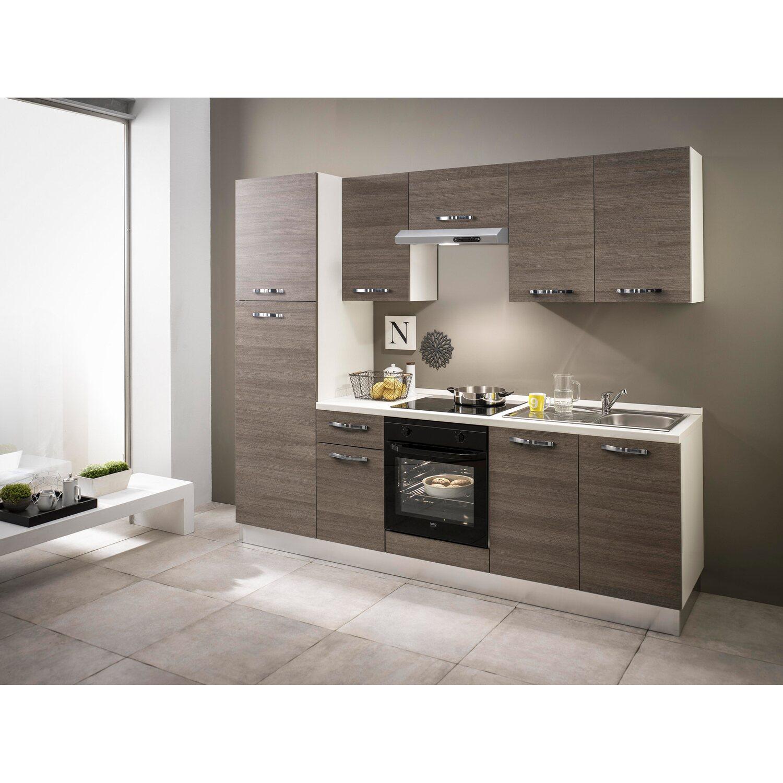 Küchenzeile Sara 250 cm Eiche Grau