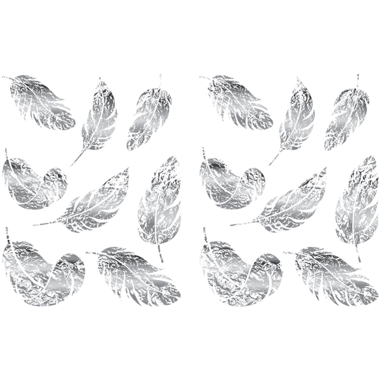Euroart Wandsticker Federn In Silber 50 Cm X 70