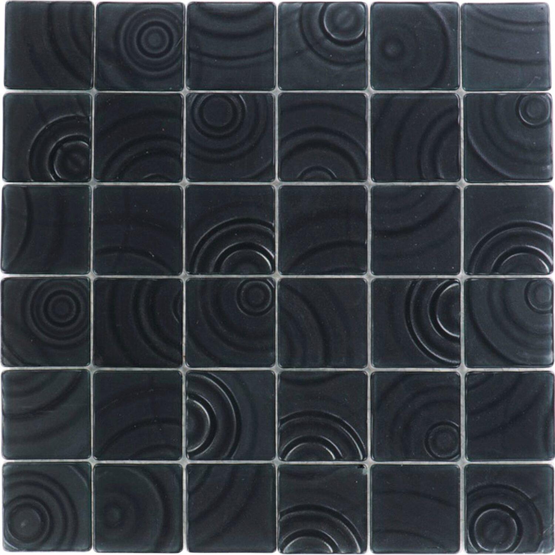 Sonstige Glasmosaikmatte Curve Black 30 cm x 30 cm