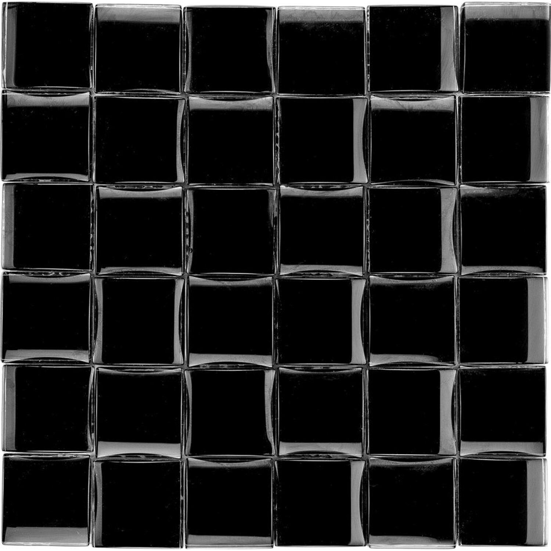 Sonstige Glasmosaikmatte 3D Black Glossy 30 cm x 30 cm