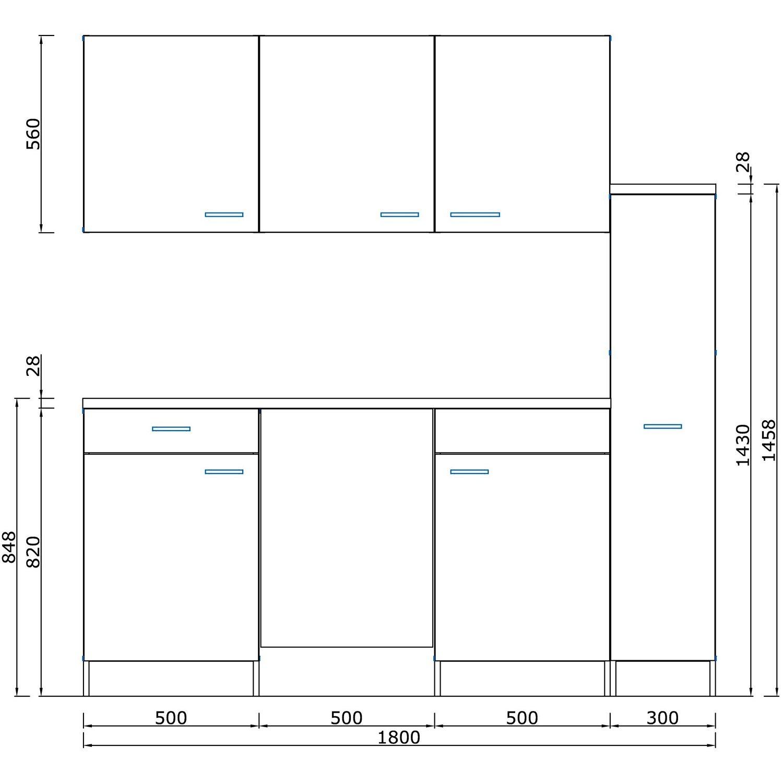 kompakte singlekuche design, respekta küchenzeile kb180eywc 180 cm weiß-eiche york nachbildung, Design ideen