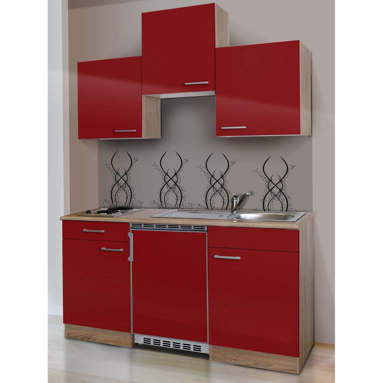 Respekta Küchenzeile KB150ESR 150 cm Rot-Eiche Sägerau