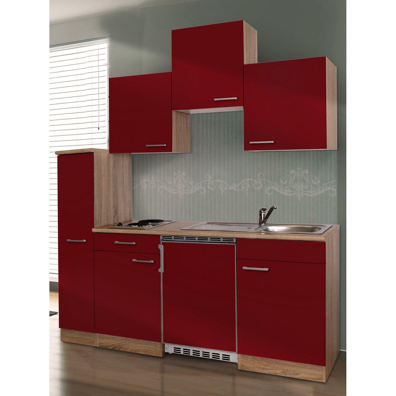 Respekta Küchenzeile KB180ESR 180 cm Rot-Eiche Sonoma Sägerau Nachbildung