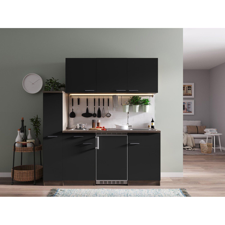 respekta k chenzeile kb180eys 180 cm schwarz eiche york nachbildung kaufen bei obi. Black Bedroom Furniture Sets. Home Design Ideas