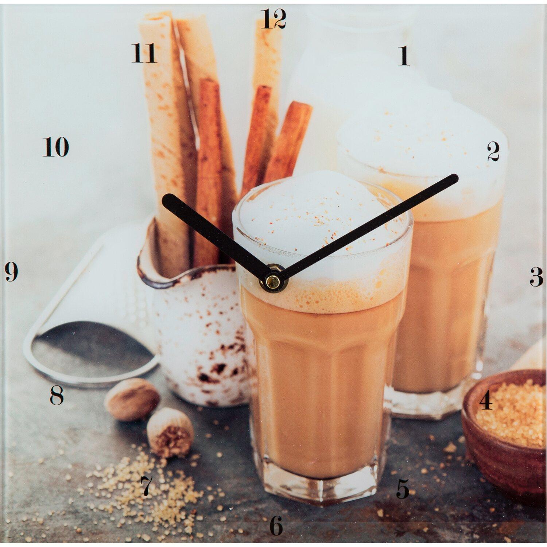 Glasuhr Simon mit Motiv Cappuccino 25 cm x 25 cm | Dekoration > Uhren > Wanduhren | Cappuccino