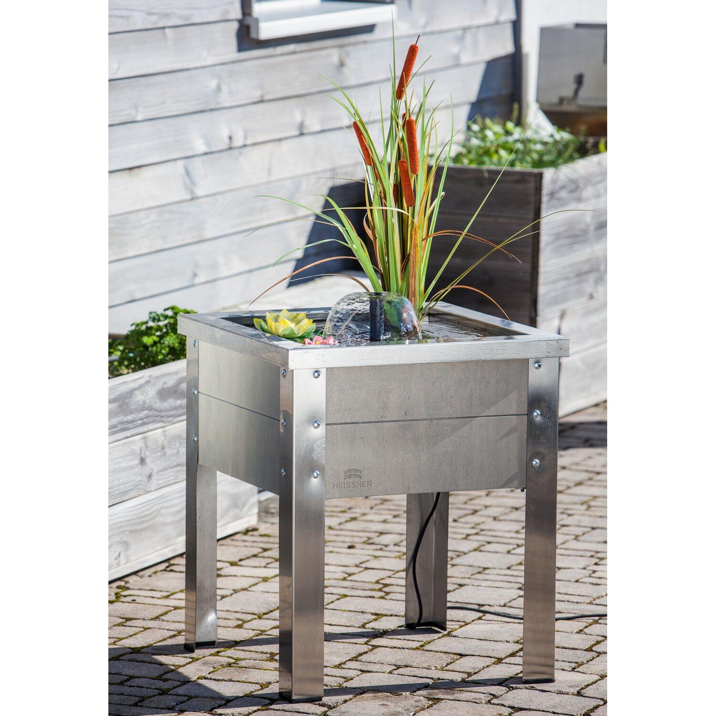 Heissner Terrassen Hochteich Edelstahl Mit Wasserspiel Natur Kaufen