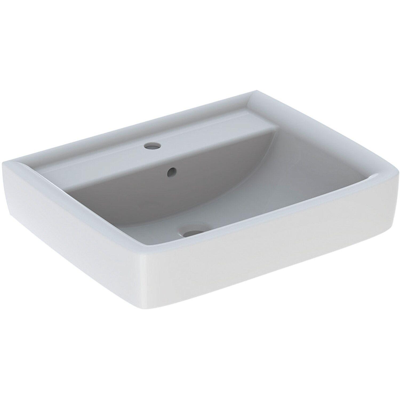 Geberit Renova Plan Aufsatzwaschbecken 60 cm Weiß mit Hahnloch und Überlauf