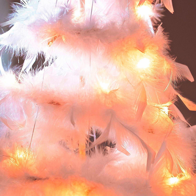 Künstlicher Weihnachtsbaum Weiß Mit Beleuchtung.Künstlicher Weihnachtsbaum Und Federn Weiß 160 Cm Mit Led Beleuchtung