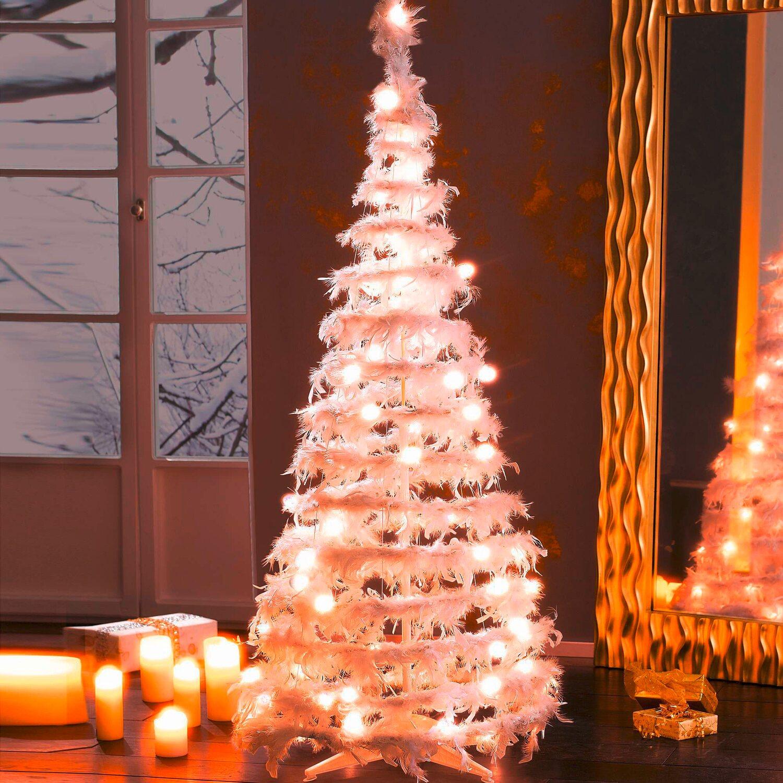 Fertiger Künstlicher Weihnachtsbaum.Künstlicher Weihnachtsbaum Und Federn Weiß 160 Cm Mit Led Beleuchtung