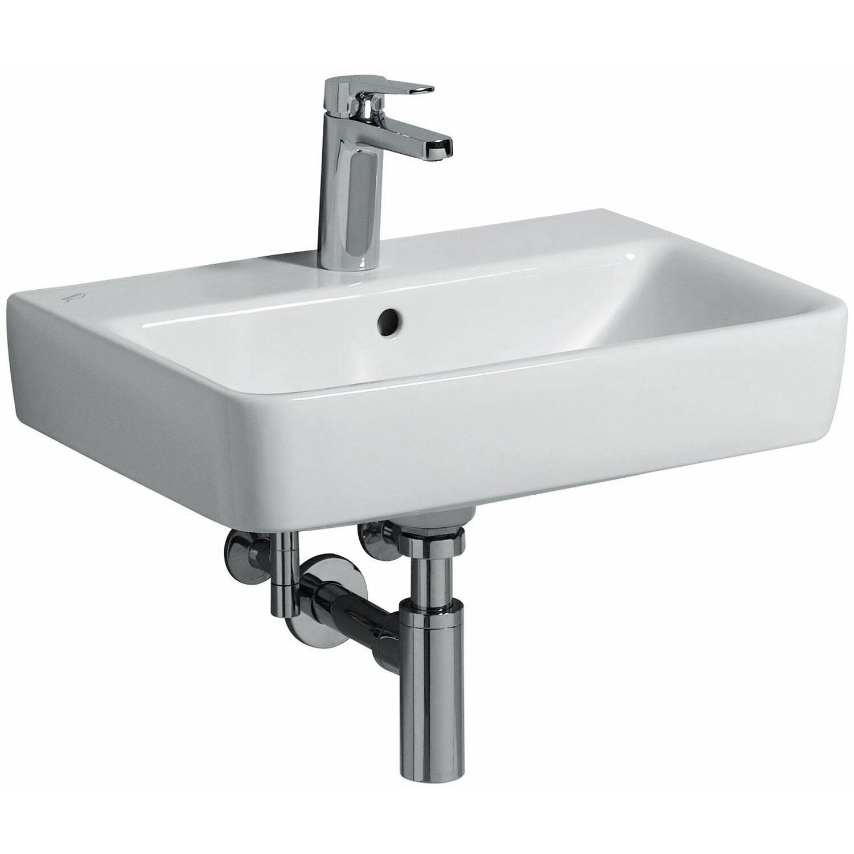 Geberit Waschbecken Renova Compact 55 cm Weiß Hahnloch und Überlauf ...