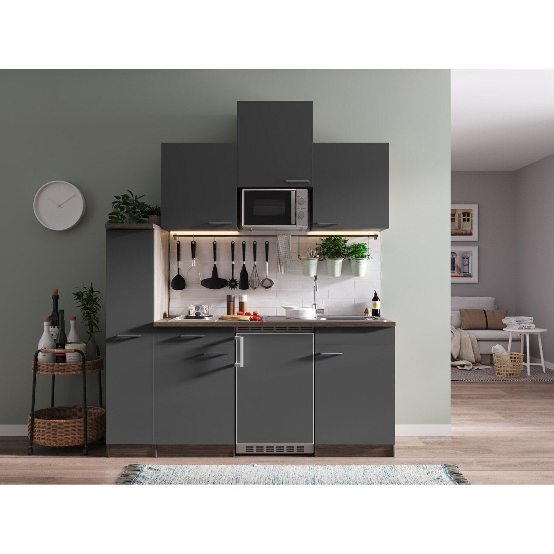 Respekta Küchenzeile KB180EYGMI 180 Cm Grau Eiche York Nachbildung