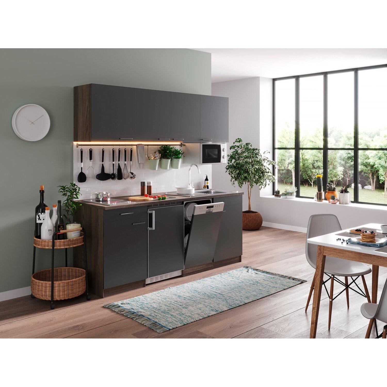 Respekta Küchenzeile KB195EYGMIC 195 cm Grau-Eiche York Nachbildung