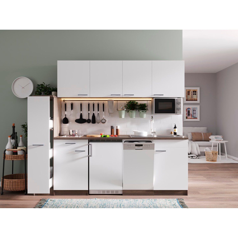 Respekta Küchenzeile KB225EYWMIC 225 cm Weiß-Eiche York Nachbildung ...