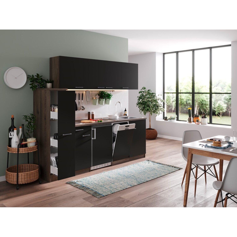 Respekta Küchenzeile KB225EYSC 225 cm Schwarz-Eiche York Nachbildung