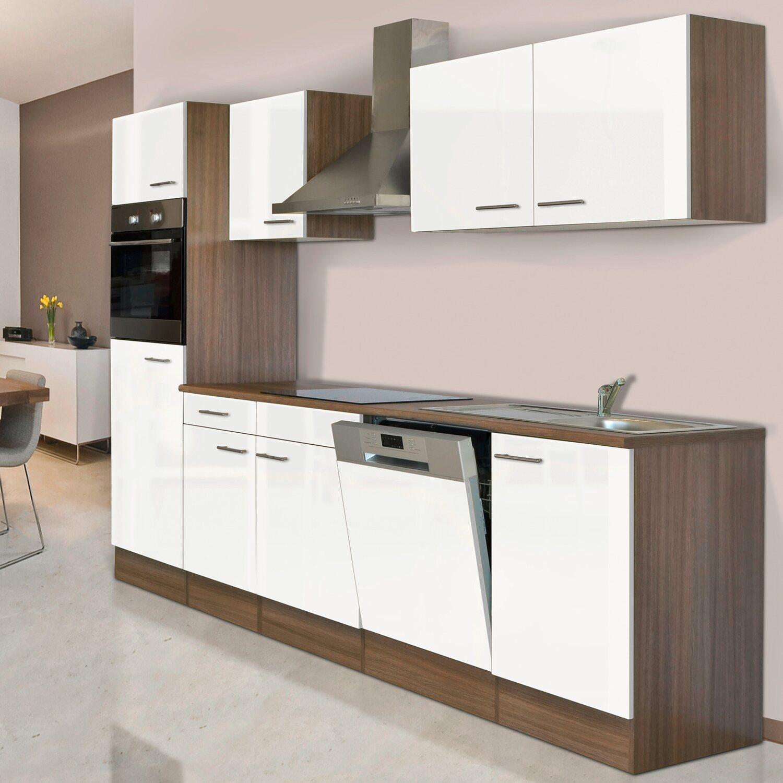 Respekta Küchenzeile KB280EYW 280 cm Weiß-Eiche York Nachbildung ...