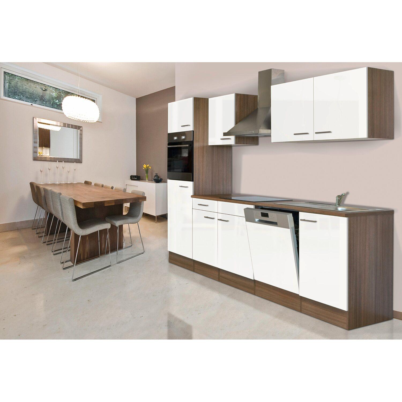 Respekta Küchenzeile KB280EYW 280 cm Weiß Seidenglanz-Eiche York ...