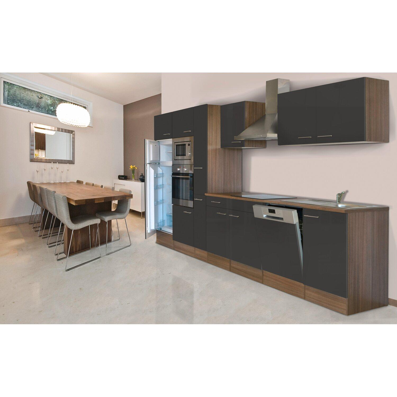 Respekta Küchenzeile KB370EYGMIGKE 370 cm Grau Seidengl.-Eiche York ...