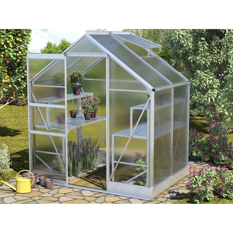 Vitavia Gewächshaus klein Apollo 2500 HKP 6 mm inkl. Fundament 2,5 m²  Alu blank | Garten > Gewächshäuser | Vitavia