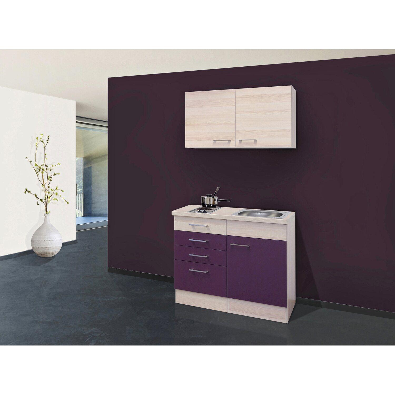 Flex-Well Exclusiv Miniküche Focus 100 cm Akazie-Aubergine   Küche und Esszimmer > Küchen > Miniküchen   Flex-Well Exclusiv