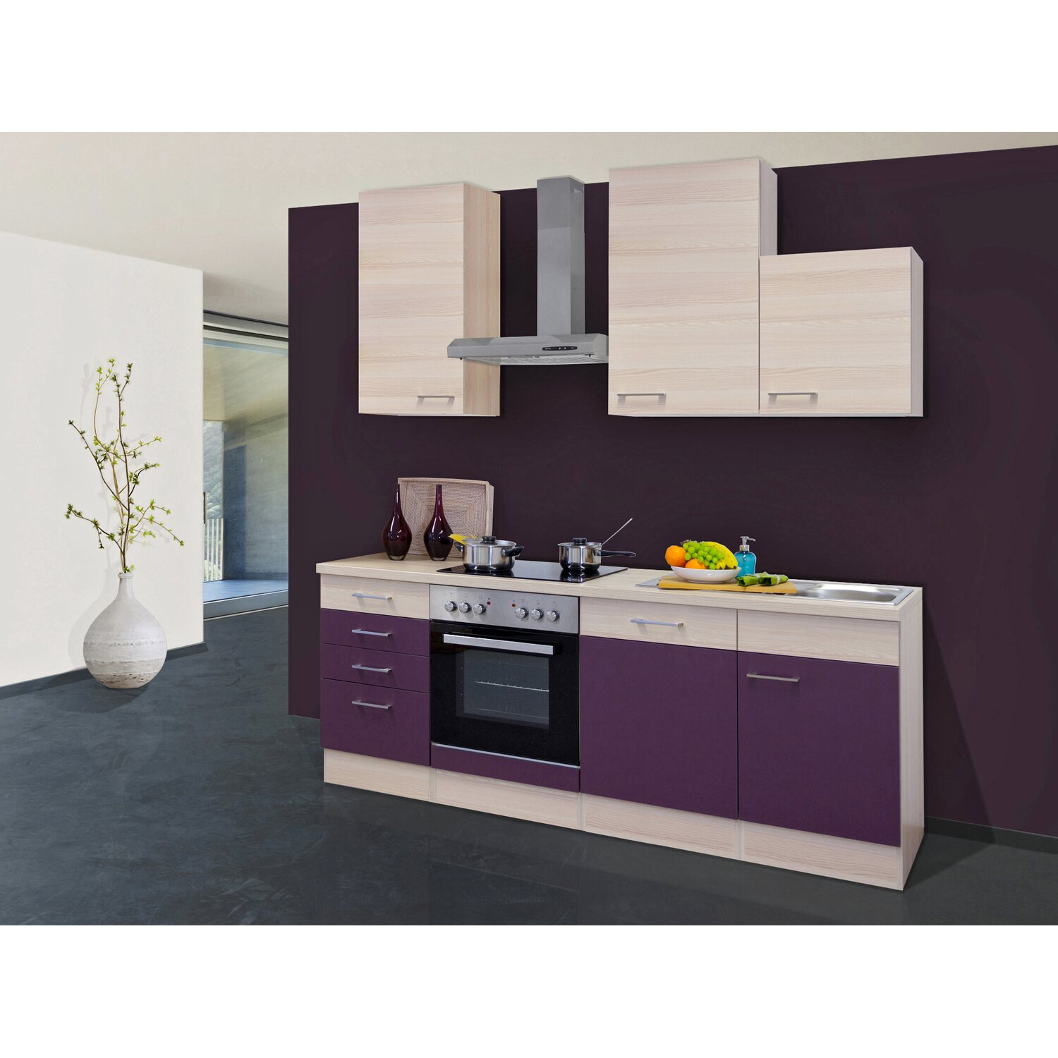 flex well exclusiv k chenzeile focus 220 cm akazie aubergine kaufen bei obi. Black Bedroom Furniture Sets. Home Design Ideas