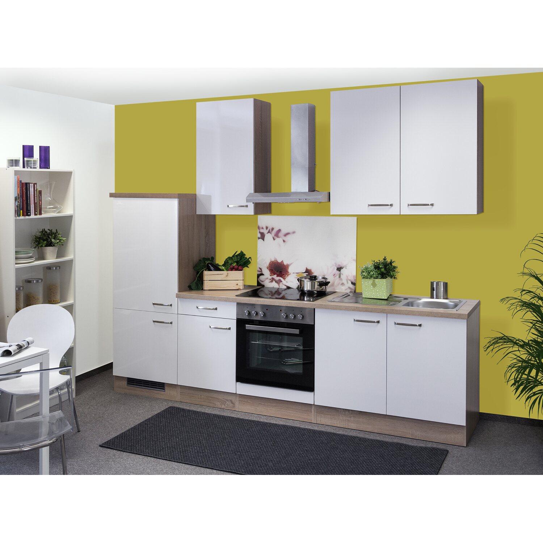 Flex-Well Exclusiv Küchenzeile Valero 270 cm Hochglanz Weiß-Sonoma ...