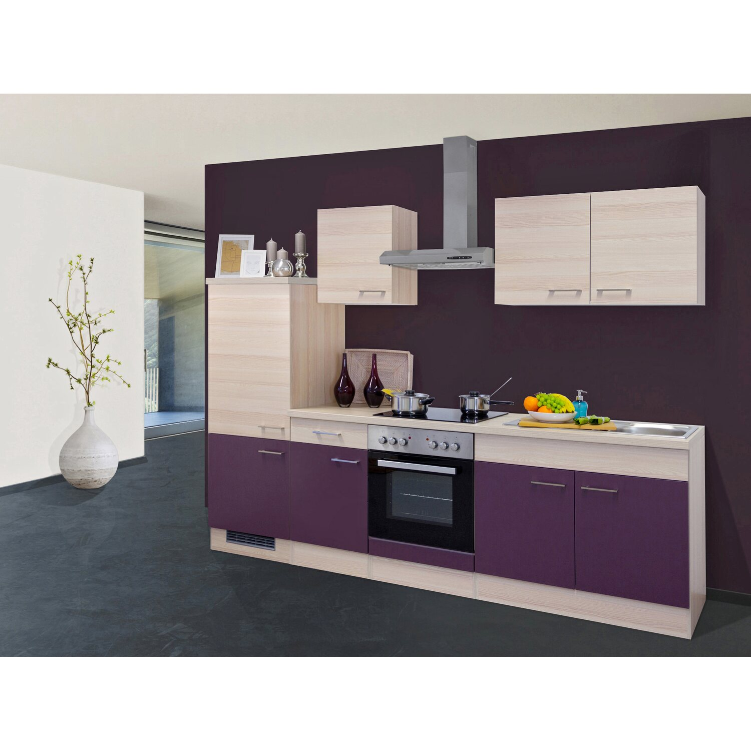 flex well exclusiv k chenzeile focus 270 cm akazie aubergine kaufen bei obi. Black Bedroom Furniture Sets. Home Design Ideas
