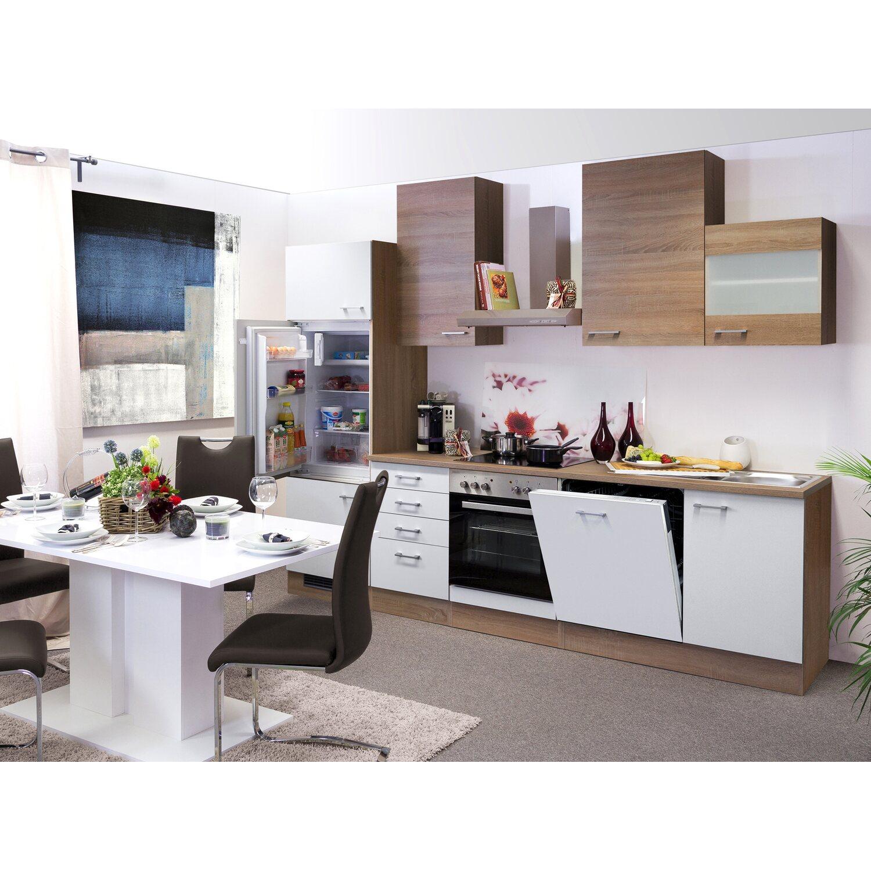 Flex-Well Classic Küchenzeile Samoa 280 cm Sonoma Eiche-Weiß-Sonoma Eiche