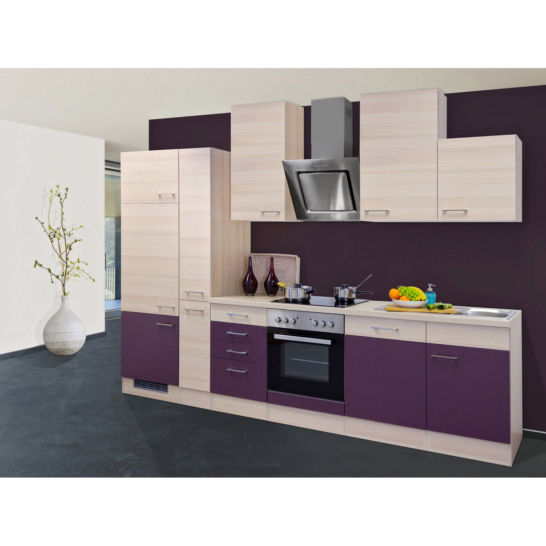 Flex-Well Exclusiv Küchenzeile Focus 310 cm Akazie-Aubergine kaufen ...