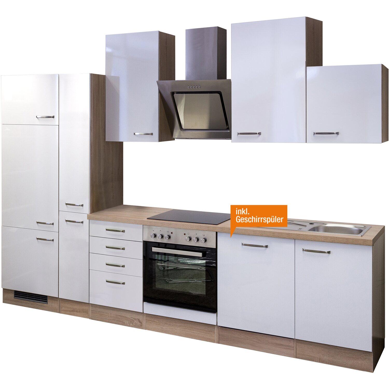Flex-Well Exclusiv Küchenzeile Valero 310 cm Hochglanz Weiß-Sonoma ...