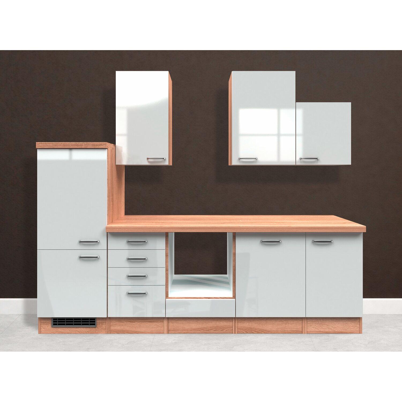 Flex-Well Exclusiv Küchenzeile Valero 280 cm ohne E-Geräte Hochglanz Weiß