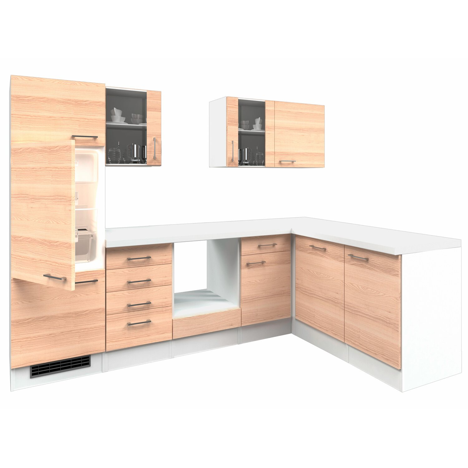 flex well exclusiv winkelk che akazia 280 cm ohne e ger te. Black Bedroom Furniture Sets. Home Design Ideas