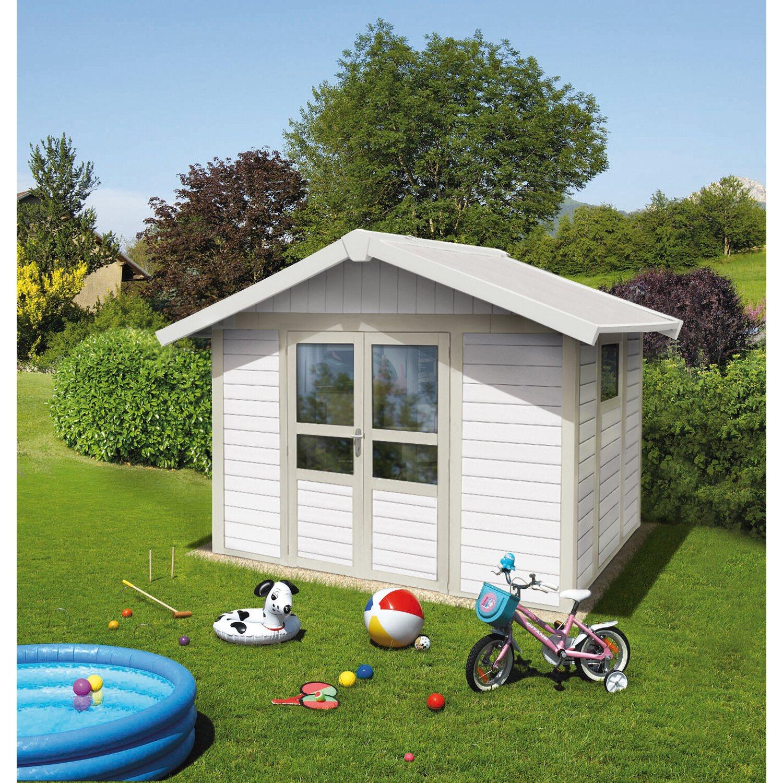 kunststoff gartenhaus deco basic home wei hellgrau b x t. Black Bedroom Furniture Sets. Home Design Ideas