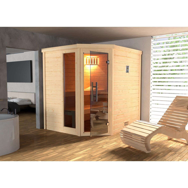 Weka Sauna Turku 1 Sparset1,BioS-Ofen, integr. Strg.,Glastür Graphit mit Fenster | Bad > Sauna & Zubehör > Saunen | Graphit - Matt - Chrom | Edelstahl | Weka