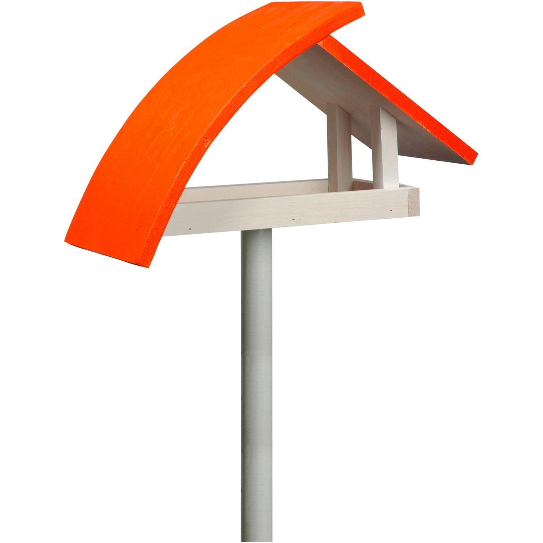 """Dobar Design-Vogelfutterhaus """"New Wave"""" in weiß mit orangenem Dach, inkl. Ständer"""