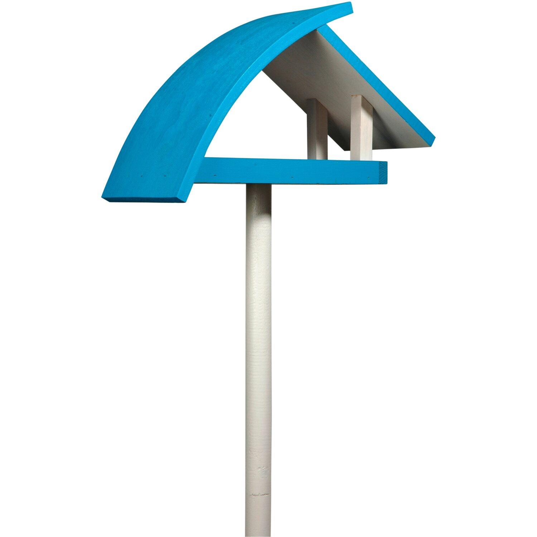 """Dobar Design-Vogelfutterhaus """"New Wave"""" in weiß mit blauem Dach, inkl. Ständer"""