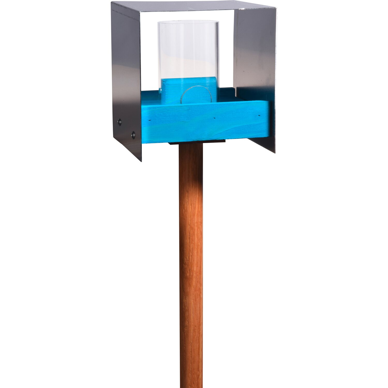 Dobar Blaues Eiche-Futterhaus mit Aluminiumdach und Futtersilo