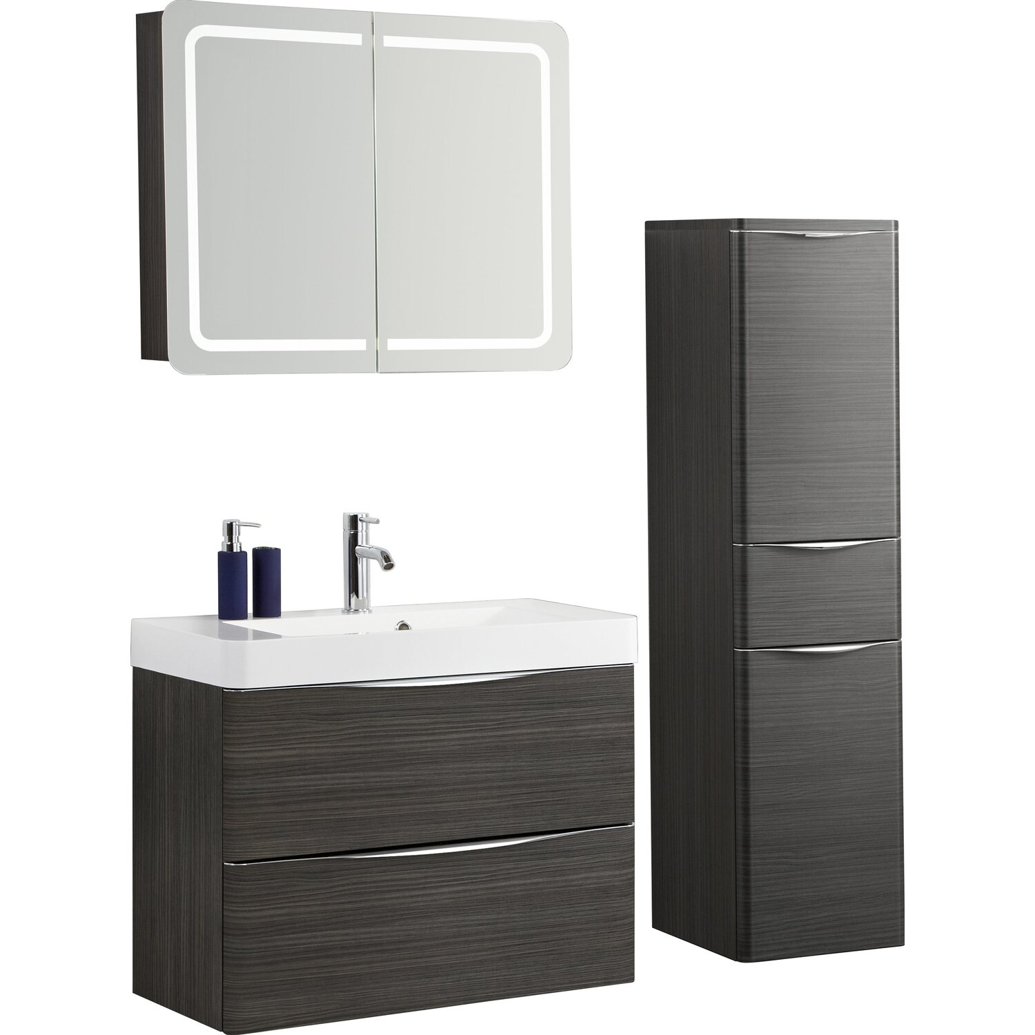 scanbad badm bel set 80 cm mit spiegelschrank samba hacienda braun 3 teilig kaufen bei obi. Black Bedroom Furniture Sets. Home Design Ideas