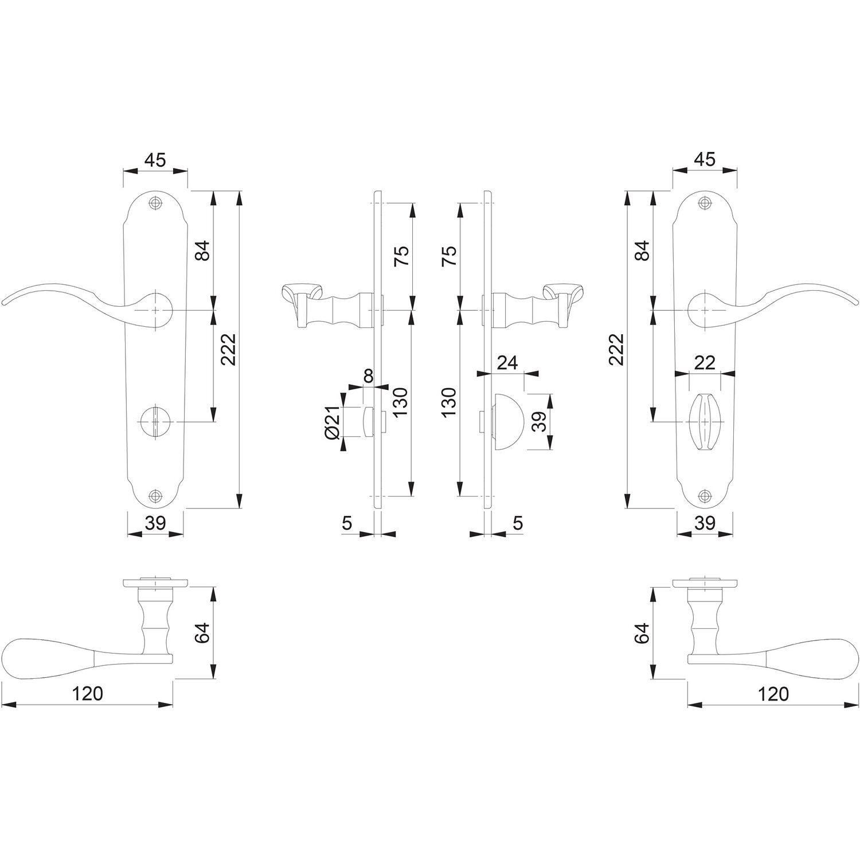 Hoppe Caracas Messing poliert F71 Langschild M112SLN//2021 Bad Garnitur WC