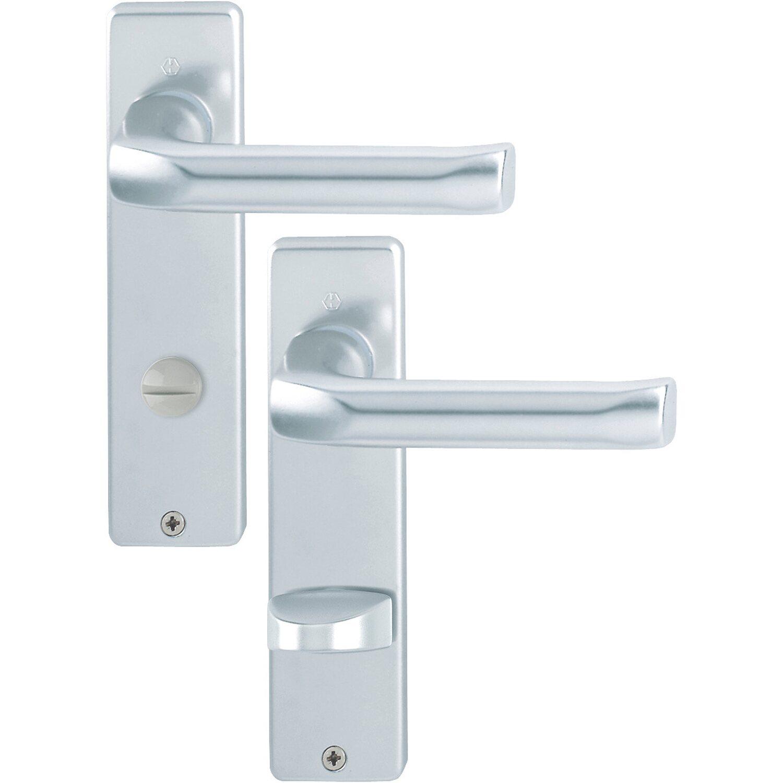 Hoppe  Bad- und WC-Kurzschild-Garnitur London 37 mm - 42 mm Alu Natur