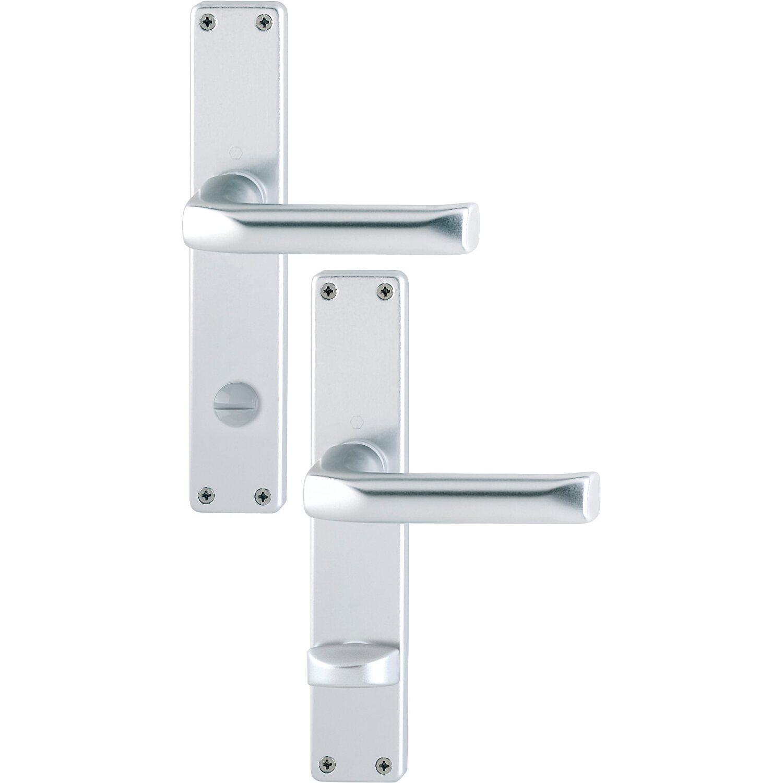 Hoppe  Bad- und WC-Langschild-Garnitur London 37 mm - 42 mm Alu Natur