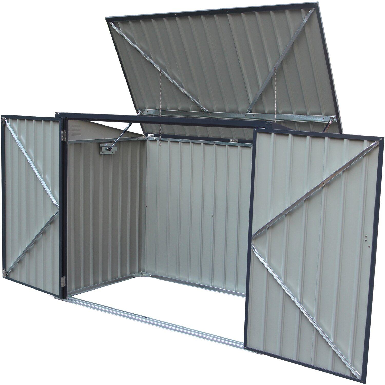 Hervorragend Metall Mülltonnenbox Grau für 2 Mülltonnen 240 Liter 131 cm x 172 OW18