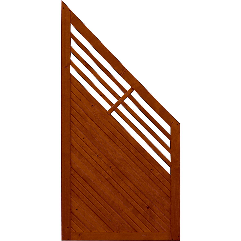 sichtschutzzaun anschlusselement manhattan teakfarben 180 x 90 cm auf 90 cm kaufen bei obi. Black Bedroom Furniture Sets. Home Design Ideas