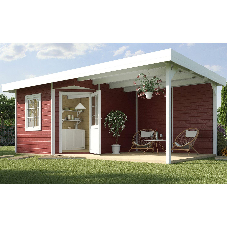 weka holz gartenhaus san remo a schwedenrot wei 541 cm x. Black Bedroom Furniture Sets. Home Design Ideas