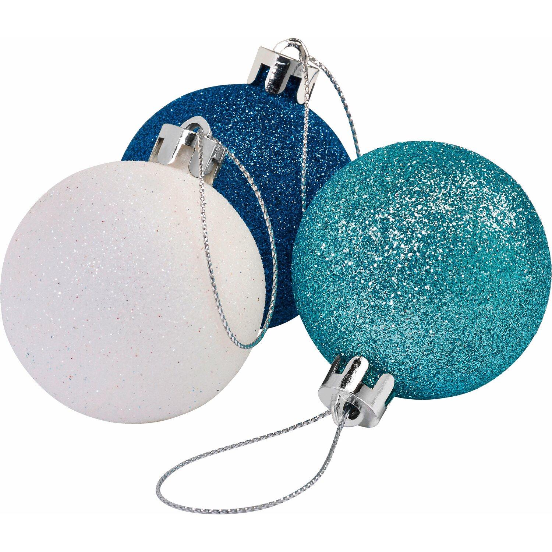 Baumkugel set eisblau wei silber kaufen bei obi - Obi weihnachtskugeln ...