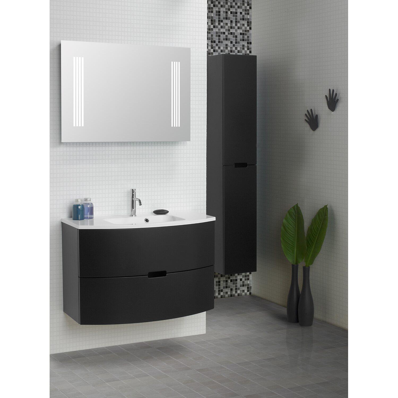 scanbad badm bel set 90 cm mit spiegelpaneel modern schwarz matt 3 teilig kaufen bei obi. Black Bedroom Furniture Sets. Home Design Ideas