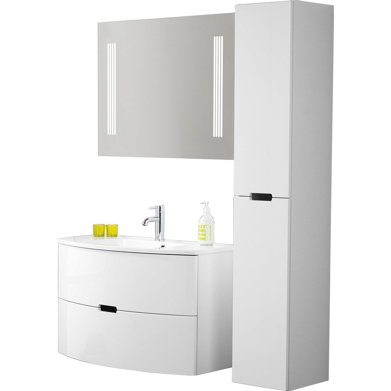 scanbad badm bel set 90 cm mit spiegelpaneel modern wei. Black Bedroom Furniture Sets. Home Design Ideas