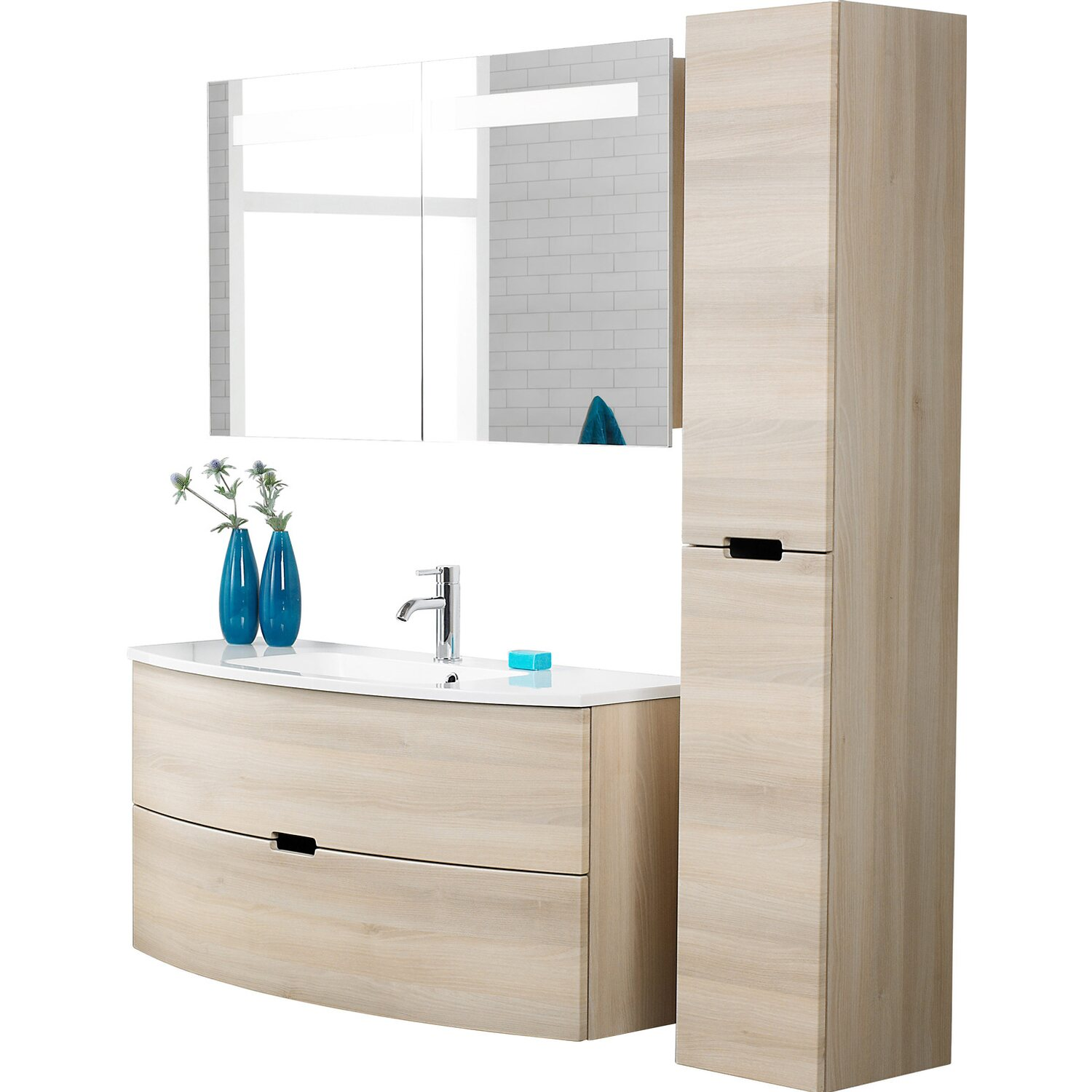 scanbad badm bel set 90 cm mit spiegelschrank modern sand 3 teilig kaufen bei obi. Black Bedroom Furniture Sets. Home Design Ideas
