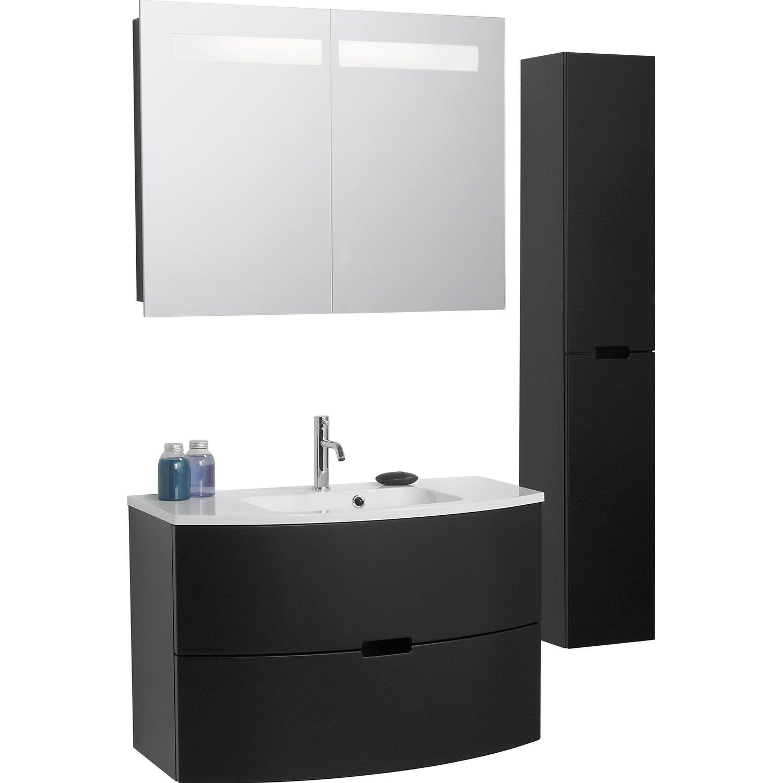 Scanbad Badmöbel-Set 90 cm mit Spiegelschrank Modern Schwarz matt 3 ...